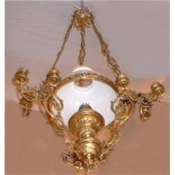 Antique Victorian French Bronze Chandelier #2382340