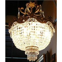 Beaded Crystal and Bronze Chandelier #2382341