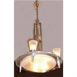 French Art Deco Bronze Chandelier Ceiling #2382343