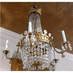 Antique Bronze and Beaded Crystal Chandelier   #2382346