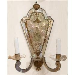Pair of Italian Mirrored Sconces #2382347
