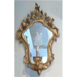 Pair of Giltwood Mirrored Sconces Wall Lights #2382349