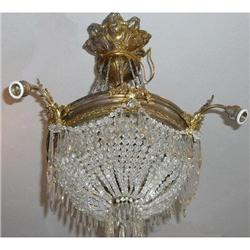 Antique French Crystal Beaded Chandelier #2382351
