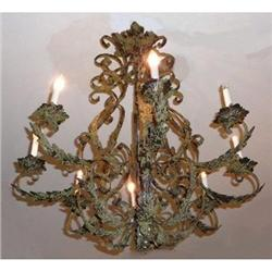 Iron and Tole Chandelier Fixture #2382352