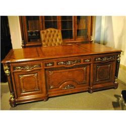 Burled Wood French Style Executive Desk  #2382357