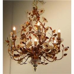 Tole Chandelier With Glass Flowers #2382376