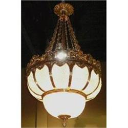 Beaded Crystal and Bronze Chandelier Fixture #2382383