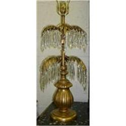 PAIR OF GILTWOOD & CRYSTAL PALM LAMPS #2382384