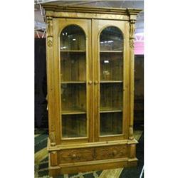 Pine Bookcase Cupboard Cabinet Vitrine Hutch #2382390