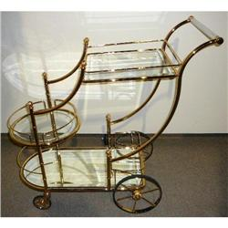Gold Plated Three Tier Teacart Server Trolly #2382431