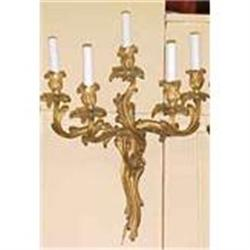 Pair of French Art Nouveau Bronze Sconces #2382447