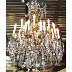 Antique French Bronze and Crystal Chandelier #2382448