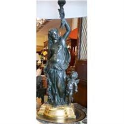 Antique Figural Bronze Lamp #2382450