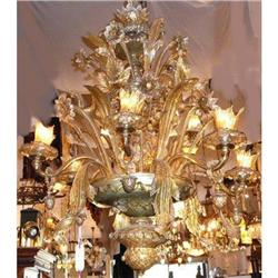 Antique Murano Crystal Chandelier Fixture #2382455
