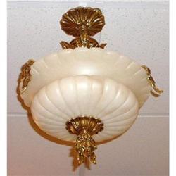 Alabaster and Bronze Chandelier Ceiling Fixture#2382465