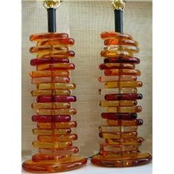 Unusual Pair  of  Mid Century  Lucite Lamps #2382468