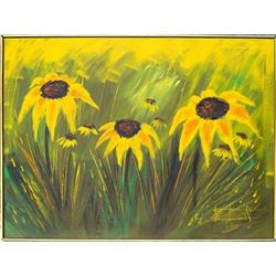 ORIG OIL PAINTING FIELD OF BLACK-EYED SUSAN #2382482