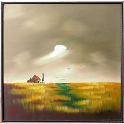 ORIG PAINTING WHEAT FIELD & STORM CLOUDS #2382483