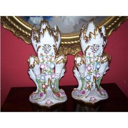 PAIR CHELSEA HOUSE PORCELAIN OLD PARIS FLORAL #2382485