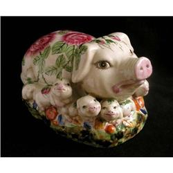 Gaudy Ceramic Pig and Family  #2382489