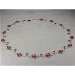 Estate 14K WG Gold Diamond Ruby Floral Necklace#2382494