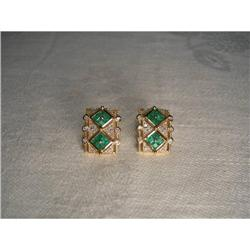 Estate 14K Gold Emerald Diamond Mosaic Earrings#2382497