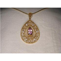 14K Gold Seed Pearl Amethyst Filigree Pendant #2382500