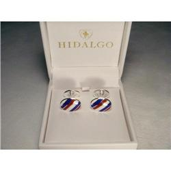 Hidalgo Enamel Silver Red White Blue Cufflinks #2382504