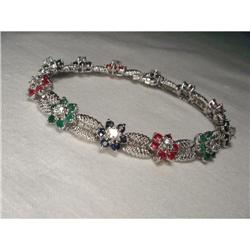 14K Gold Sapphire Ruby Emerald Diamond Bracelet#2382505