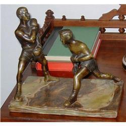 Exceptional Vintage Bronze Boxers Statue #2382535