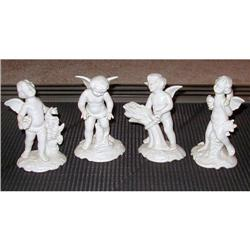 Four Dresden Angel Cupid Figurines #2382543