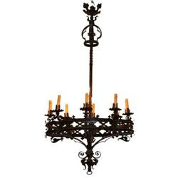 French Neo Gothic Iron Chandelier #2394342