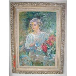 LIFE SIZE PAINTING OF LADY WATERING FLOWERS IN #2394353