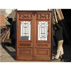 Double door with wrought iron, Mahogany wood #2394370