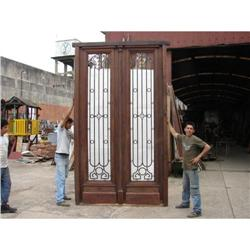 Big salvage double door with wrought iron. #2394372