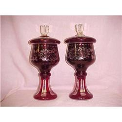 Two Red Bohemian Glass Candy Dishes #2394543
