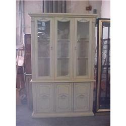 Traditional Tall China Cabinet of Beige/Gray #2394547