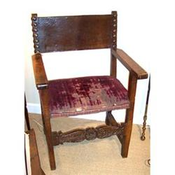 Baroque carved walnut arm chair #2394548