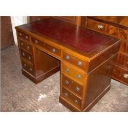 Victorian Walnut Pedestal Desk #2394552