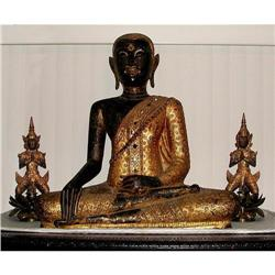 MASSIVE THAI BRONZE SEATED TEMPLE BUDDHA #2394575