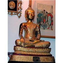 GILT BRONZE 19th c. SEATED THAI BUDDHA #2394576