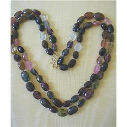 DOUBLE STRAND MULTI-COLOR TOURMALINE NECKLACE/ #2394622