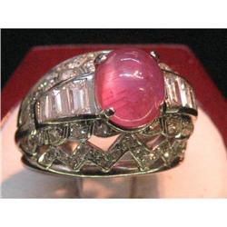 18 k White Gold& Cabachon Ruby& Diamond Ring  #2394642