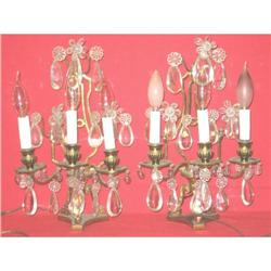 A Pair of French Bronze & Crystal Sconces(lamp)#2394648