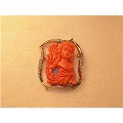 Estate 14K YG Diamond Carved Cameo Coral Brooch#2394656