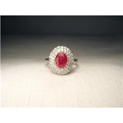 14K WG White Gold Ruby Diamond Cascade Ring #2394657