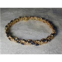 Estate 14K YG Gold Diamond Sapphire Bracelet #2394658