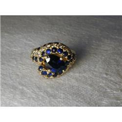 Estate 14K YG Gold Pave Diamond Sapphire Ring #2394659