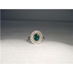 14K WG Gold Emerald Diamond Cascade Ring #2394660