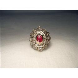 Estate 18K Pink Gold Diamond Ruby Floral Ring #2394661